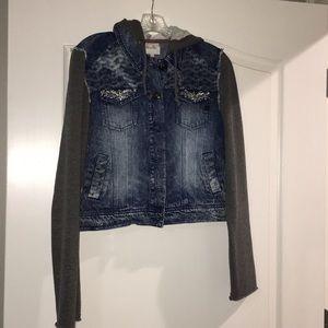 Women's hooded Miss me bluejean jacket L